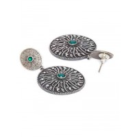 Circular Brass Based Oxidized Silver Earrings Embellished With Green Stones and Classic Designer Motifs