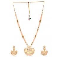 Yellow & Peach Gold-Plated Kundan Jewellery Set