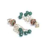 Gold Plated Kundan Tassels Party Wear Earrings