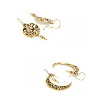 Combo of Tree and Crescent Short Golden Earrings