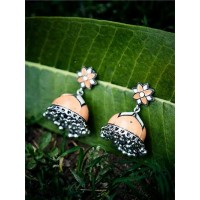 Orange and White Meenakari Jhumki Earrings