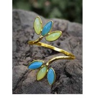 Lime Onyx and Blue Druzy Semi Precious Handmade Jewellery Cuff