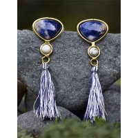 Sodalite and Howlite Semi Precious Handmade Jewellery Earrings