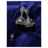 Drop Tribal Jewellery Short Jhumkis With Hanging Silver Bells