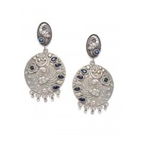 Mor Brass Based Oxidized Silver Earrings Embellished With Floral Motifs and Blue Stones