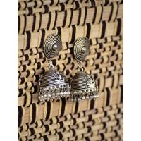 Dainty Oxidized Tribal Jewellery Silver Jhumkis with Metallic Bells
