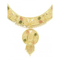 Golden Necklace Set with Floral Cutwork