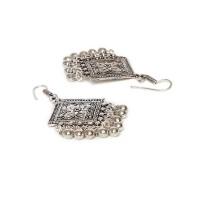 Floral Motifs Diamond Design Oxidized Silver Long Earrings
