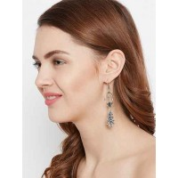 Floral Oxidized Silver Bali Earrings
