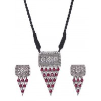 Red Women's Silver Plated Oxidized Choker Necklace Set