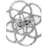 Adjustable Oxidized Silver Designer Floral Ring