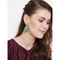 Green and White Meenakari Jhumki Earrings