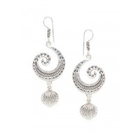 Spiral Oxidized Silver Earrings