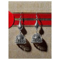 Intricately Crafted Tribal Jewellery Long Jhumkis With Silver Hanging Bells