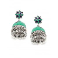 Green and Blue Meenakari Jhumki Earrings