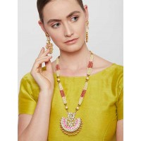 Golden & Pink Gold-Plated Kundan Jewellery Set