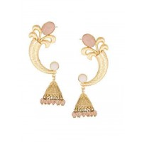 Designer Party Wear Rose Stone Studded Brass Party Wear Earrings
