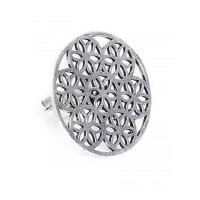 Floral Chunky Oxidized Silver Ring
