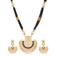 Golden & Black Gold-Plated Kundan Jewellery Set