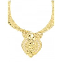 Traditional Golden Necklace Set with Floral Motifs