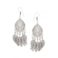 Leafy Oxidized Silver Earrings For Women