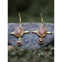 Smoky Hematite and Rose Quartz Semi Precious Handmade Jewellery Earrings
