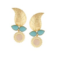 Modern Leaflet Turquoise and Rose Quartz Party Wear Earrings