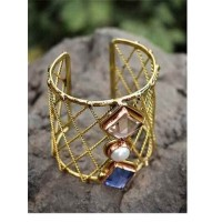 Semi Precious Rose Quartz Blue Crystal Square Faceted And Pearl Handmade Jewellery Cuff