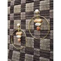 Big Golden Earrings Studded With Semi Precious Gemstones