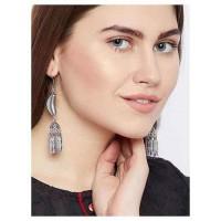 Cashew Shaped Long Oxidized Silver Earrings