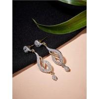 Fancy American Diamond Leaf Earrings