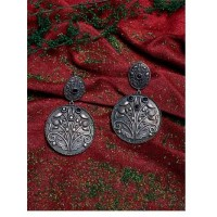 Petals and Leaves Brass Based Oxidized Silver Round Earrings Embellished With Floral Motifs and Blue Stones