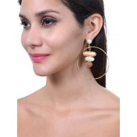 Red adventurine, Pink and White Bead Semi Precious Handmade Jewellery Earrings
