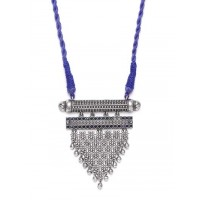 Threaded Silver Toned Metal Handcrafted Necklace Set With Blue Gemstones