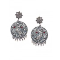 Round Brass Based Oxidized Silver Earrings Embellished With Peacock and Floral Motifs