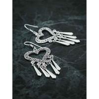 Oxidized Silver Hollow Heart Earrings