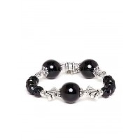 Black and Silver Beaded Charm Bracelet