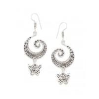Oxidized Silver Butterfly Earrings