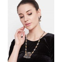 Peacock Oxidized Silver Toned and Gold-Toned Necklace Set