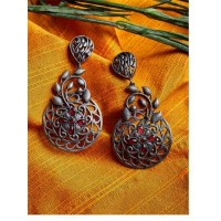 Floral Silver Plated Brass Earrings For Women