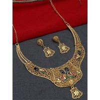 Golden Necklace Set with Multicolored Peacock Motifs