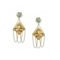 Long Designer Tassel Pearl Studded Brass Party Wear Earrings