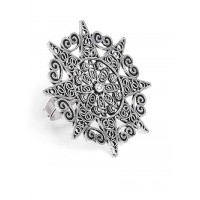 Adjustable Oxidized Silver Chunky Surya Ring