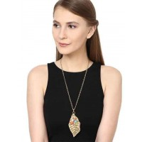 Coral Leaf Brass Pendant Fashion Necklace