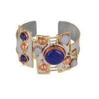 Lapis Lazuli Aqua Calcy Semi Precious Handmade Jewellery Cuff Bracelet