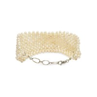 Pearl Jaal Design Broad Silver Jewellery Bracelet