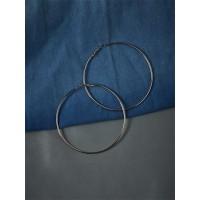 Big Metallic Silver Hoop Earrings