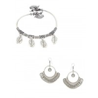 Oxidized Coins Earrings and Leafy Charm Bracelet Combo