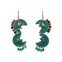 Green Gem Statement Chandelier Handmade Jewellery Earrings