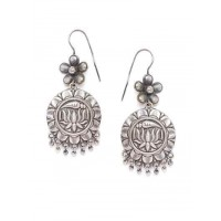 Brass Based Oxidized Silver Earrings With Lotus Embellishments